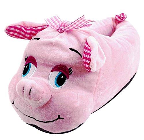 ACO Damen Hausschuhe Witzige Tierhausschuhe Schwein Schweinchen Plüsch-Hausschuhe Rosa Gr. 36-41