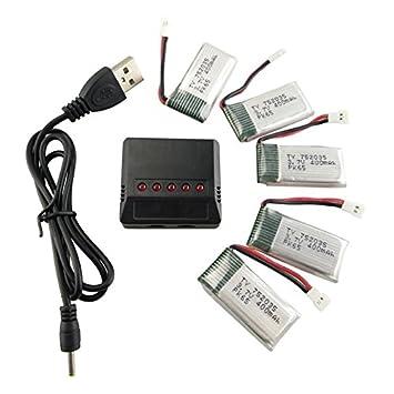 Fytoo 5PCS 3.7V 400mAh Lipo Batería y 5 en 1 Cargador para H99W ...
