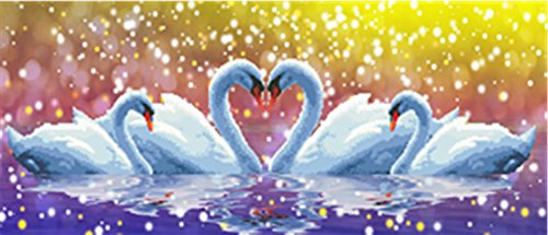 5D Swan DIY Cross Stitch Painting Sticker Pasted Gift - 1