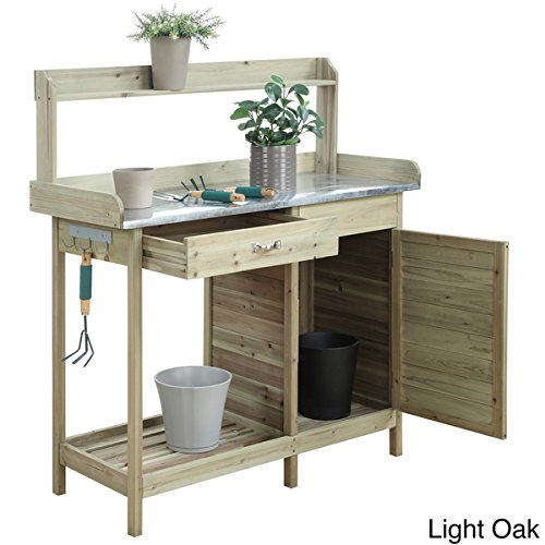 Conveience Concepts Brown/Orange Cabinet Deluxe Potting Bench in (Light Oak) (Potting Bench Black)