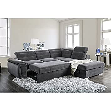 Amazon.com: Furniture of America Evy Sleeper Sectional in ...