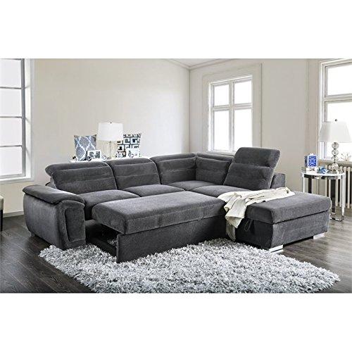 Furniture of America Evy Sleeper Sectional in Dark Gray