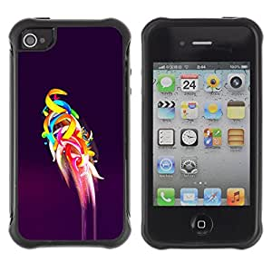 WAWU Rugged Armor Slim Protection Case Cover Shell -- bird parrot flight purple abstract art -- Apple Iphone 4 / 4S