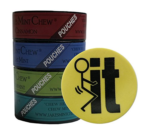 Jake's Mint Chew Minty Sampler Pouches - 4 Can Variety Pack - Includes DC Skin Can Cover (F IT Skin) - Cigar Variety Sampler