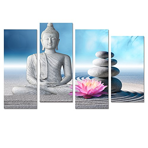 (Buddha Canvas Wall Art,Framed and Stretched,Large Size Peaceful Buddha Painting Wall Art,White Sand Zen Stone Canvas Prints,Religion Buddha Canvas Art (10
