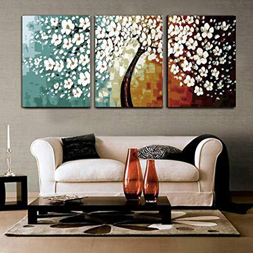 TuBaoBao Pintura por Numeros Cuadros De Flores Triptico Pinturas para La Pared De La Sala De Estar 3 Conjunto Decoracion para El Hogar Pintura Al Oleo para Colorear Al Oleo, No Marco 40X50Cmx3