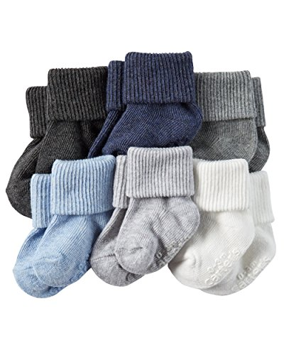 Carter's Baby-Boys Socks, Solid, 3-12 Months (Pack of 6)