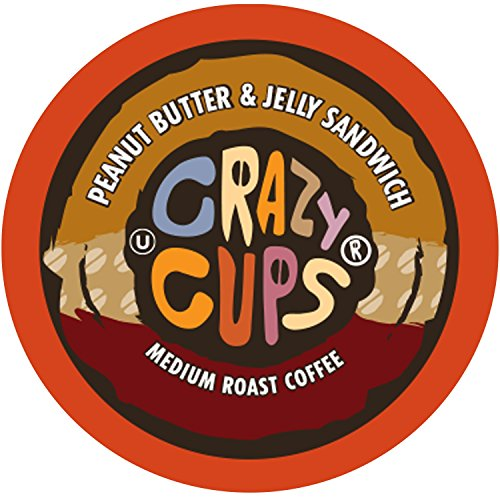 Crazy Cups Flavored Coffee, for the Keurig K Cups 2.0 Brewers, Peanut Butter and Jelly Sandwich, 22 Count