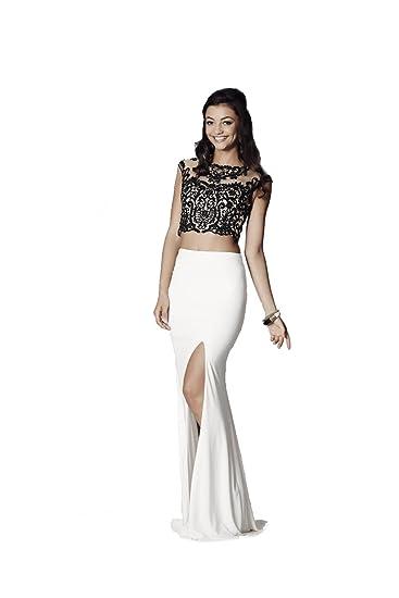 Tiffanys Illusion Prom Black/Ivory Belinda Two Piece Gown UK 6 (US 2): Amazon.co.uk: Clothing