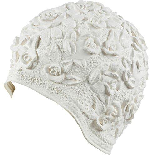 Retro Swim Caps - Beemo Latex Swim Cap - Women Stylish Swimming Cap Great for Ladies, Perfect to Keep Hair Dry - Suitable for Long Hair - Embossed Flower - White