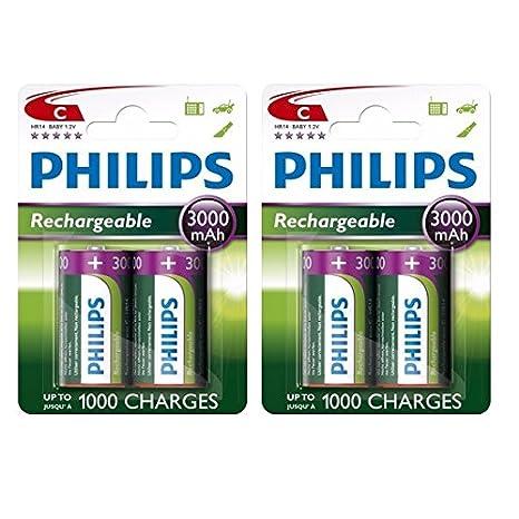 4 x Philips tamaño C 3000 mAh pilas Ni-MH recargables HR14 LR14 MN1400