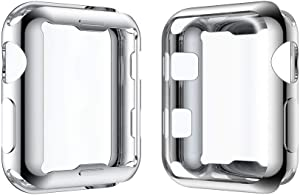 Smiling Sliver Case for Apple Watch 3 with Buit in TPU Screen Protector All-Around Protective Case High Definition Clear Ultra-Thin Cover for Apple Watch 42mm Series 3 and Series 2 (Silver, 42mm)