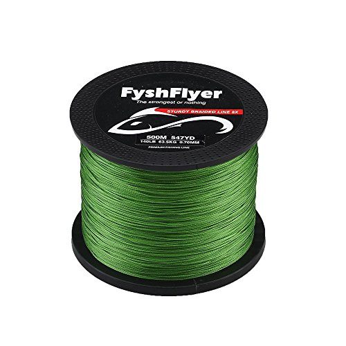 FYSHFLYER 89-140 LB Superpower 8X Braided Fishing Line Zero Stretch, Low Memory and High Tension Advanced for Saltwater and Freshwater Fishing – Green/Gray/Yellow/Blue