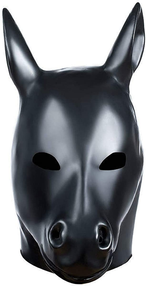 LarpGears Halloween Costume Party Latex Hood Dog Animal Rubber Mask Fetish with