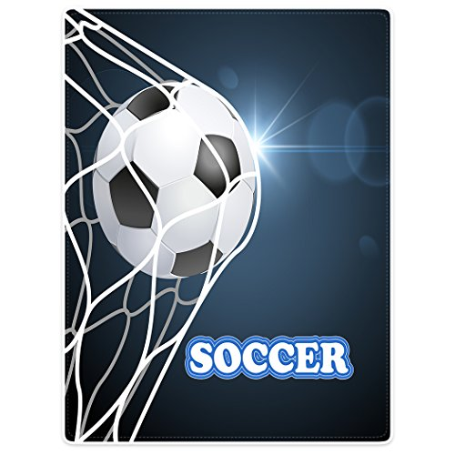 Fleece Soccer Blanket - Blankets Sofa Bed Throw Lightweight Cozy Plush Funny Soccer Football Ball Net 60