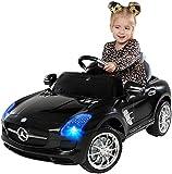 Kinder Elektroauto Mercedes Lizenziert SLS AMG Original Lizenz Kinderauto Kinderfahrzeug Elektro Spielzeug für Kinder (Schwarz)