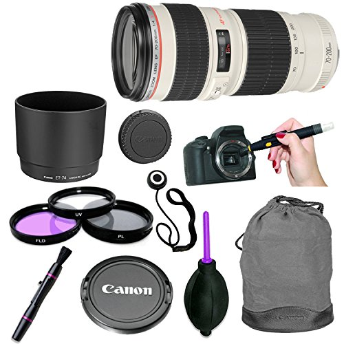 Lens Kit Sleeve - Canon EF 70-200mm f/4-L USM Lens for Canon Digital SLR Cameras with 3 Piece Filter Kit, Lens Cleaning Pen, Rubber Air Dust Blower, Hood, Pouch/Sleeve, Cap Keeper (8 Items)