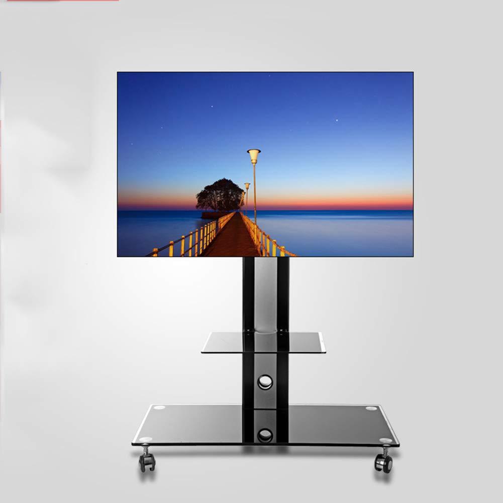 モバイル tv スタンドトロリーカート品質強化ガラス回転高さ調整可能なテレビマウントブラケット 32 50 インチテレビブラック   B07KPFP85D