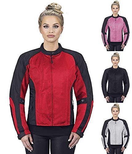 Viking Cycle Motorcycle Jackets for Women Warlock Women's Mesh Motorcycle Jacket (Red, Medium)