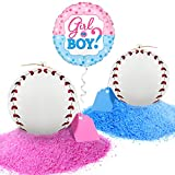 Gender Reveal Baseball Balls Pink and Blue Set - Boy or Girl Baby Shower Reveal Party Supplies - 2 Baseballs Packed with Color Powder for a Unique Surprise
