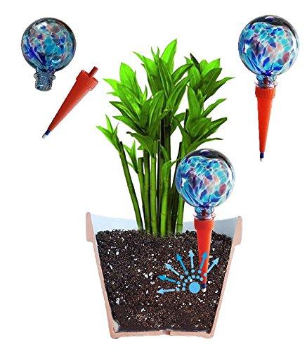 2 große plantpal Deko Glas Bewässerungskugeln für Pflanzen. Selbst-Bewaesserungskugeln, Automatisches Bewässerungssystem, Bewässerung während des Urlaubs Bewaesserungs-Spikes und Bewaesserungspfloecke beinhaltet. Dieses Produkt zahlt sich aus! Verschwenden Sie nicht Ihre Mittel an andere billige Kugeln.