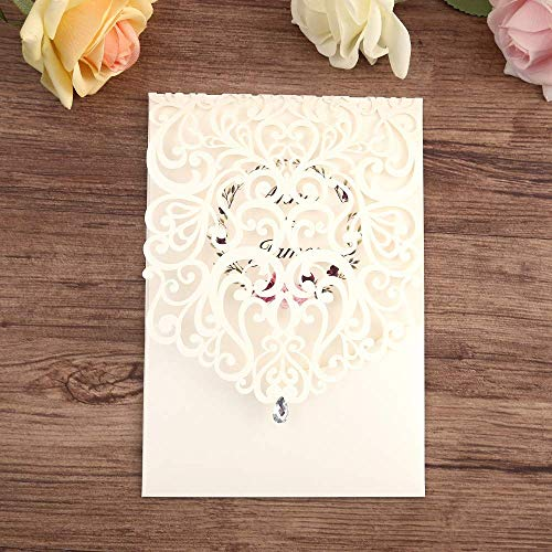 Doris Home Vertical Ivory Classic Style Wedding Invitations Cards Custom with Rhinestone & Laser Cut Flower (1)]()