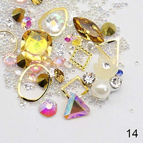 Glass Rhinestones Crystal Nail Studs Mix Mini Caviar Nail Art Beads Nail Alloy Gemstones Charms 3D Decorations (14)