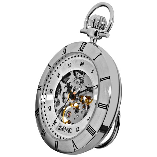 August Steiner Men's AS8017SS Mechanical Skeleton Movement Silver Pocket Watch with Link Chain