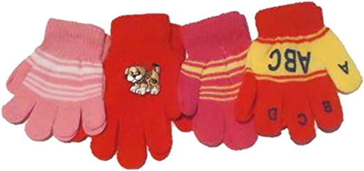 Four Pairs of Multicolor Magic Gloves for Infants and Toddlers Ages 1-4 Years