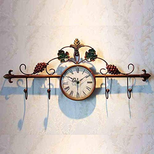 - Juxianggou Wall Clock Hand Painted Grapevine European style Retro Living Room Bedroom Modern Non-ticking Silent Sweeping Seconds Decoration Creative Clothes Hooks Watches And Clocks wall clock decorat