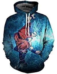 Bettydom Teen's Novelty Hoodies Sweatshirt 3D Printed Japanese Anime Pullover with Dragon Ball for Boys Girls