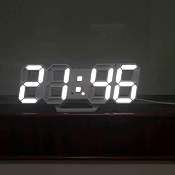 Shuangklei Moda 3D Moderno Reloj De Pared Reloj De Sobremesa Relojes Led Digital 24/12 Horas Mecanismo Mostrar Reloj Alarma Snooze Despertador Escritorio: ...