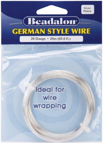Beadalon German Style Wire-Silver Round - 26 Gauge, 65.5' -