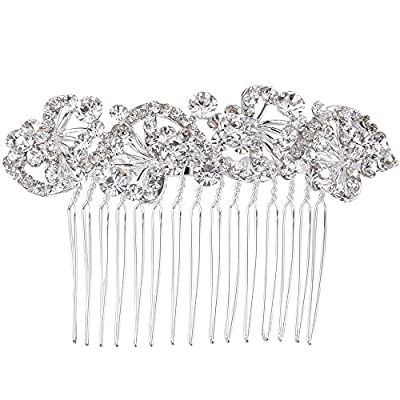 BriLove Women's Bohemian Crystal Charming Wave Shape Flower Wedding Bride Side Hair Comb