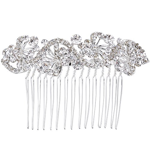 BriLove Wedding Hair Accessories Bridal Hair Comb Bohemian Crystal Charming Wave Shape Flower Bride Side Comb for Women Silver-Tone Clear