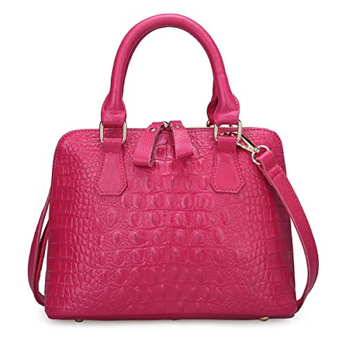 En Modèle Crocodile black Sac À Messenger Rosered Mme Cuir Main HqpRapxS