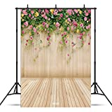 WOLADA 5x7ft Wood Wall Backdrops Photography Props Pink Flowers Wooden Floor Backgrounds for Photo Studio Prop 8909