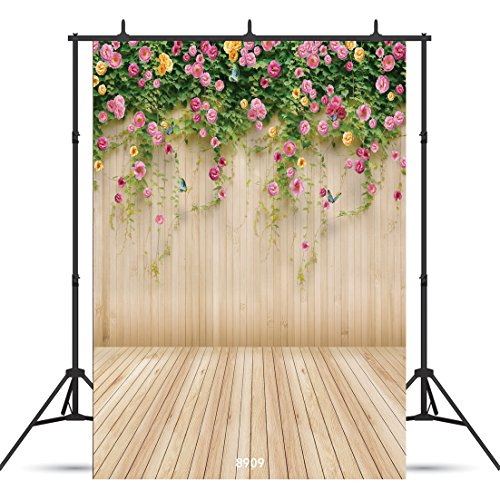 WOLADA 5x7ft Spring Photo Backdrop Wood Wall Backdrops Photography Props Pink Flowers Wooden Floor Backgrounds for Lover Wedding Party Children Decoration Background Prop ()