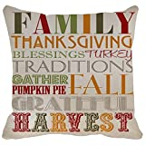 Pillow Case Family Thanksgiving Blessings Turkey Traditions...