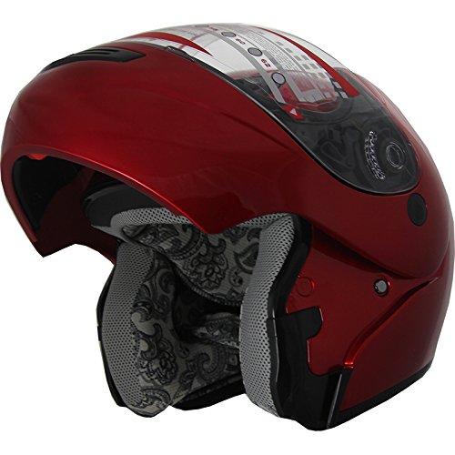 Snowmobile Helmet Modular Flip up Anti Fog Wine Red 306 (XL) ()