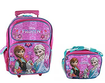 Amazon Com Disney Frozen Rolling Backpack And Lunch Bag