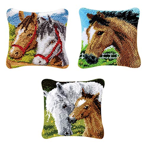 CUTICATE 3pcs DIY Latch Hook Kits for Beginners Pillow Cover Case Animal Cushion Horse