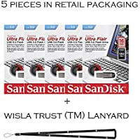 SanDisk Cruzer Flair 16GB (5 pack) SDCZ73-016G USB 3.0 130mb/s Flash Drive Jump Drive Pen Drive SDCZ73-016G - Five Pack + Bonus Wisla Trust (TM) landyard