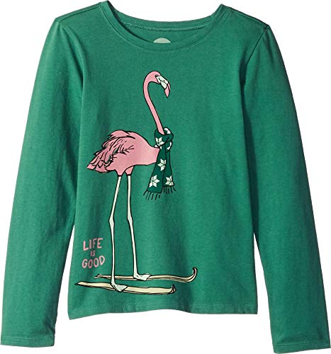 Life is Good Girls Graphic Long Sleeve T-Shirts Crusher Collection,Flamingo,Forest Green,Large Crusher Long Sleeve Tee