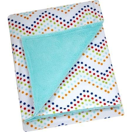 Pinwheel Super-soft Chevron Polka Dots Velboa Blanket, , 30-inch x 40-inch (Blue)