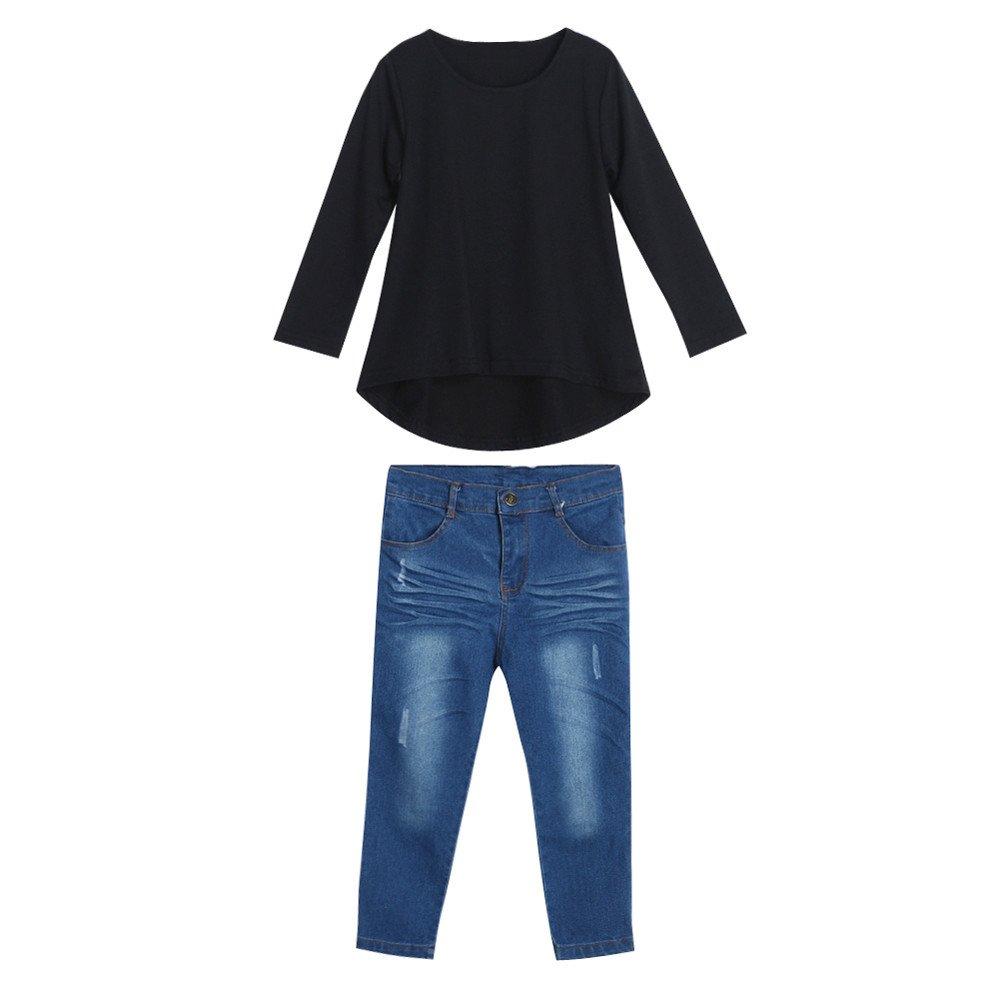 XXYsm 2pcs Baby Mädchen Tops + Jeans Hosen Outfits Kleidung Denim Set Herbst Langarm
