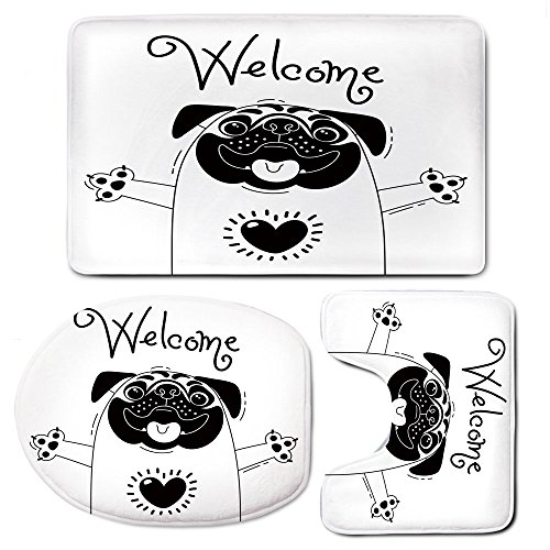 3-Piece Bathroom Set Bath Mat Rug Lid Toilet Covers Toilet Seat Cushion,PugNon-Slip Rubber Backing,Cute Black and White Dog with Welcome Word Over its Head Hospitality Happiness Image Decorative