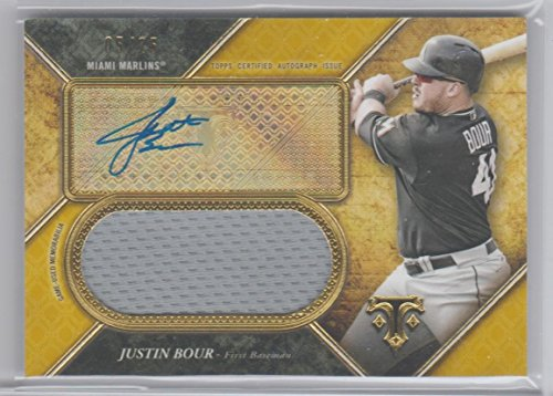 Justin Bour 2017 Triple Threads Signed Game Used Jersey Card Serially #'ed 05/25 Marlins (Game Used Jersey Cards)