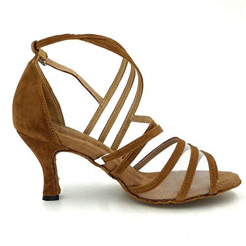 Heel Party Practice Ladies Tango for Dance Shoes Ballroom Heels and 2 Beige CXS Wedding Open Toe Salsa 75