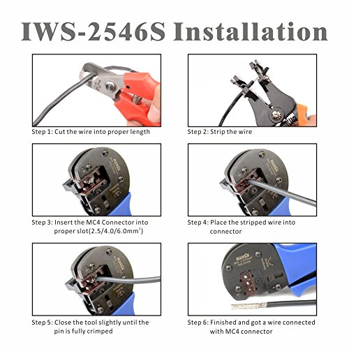 IWISS Solar Crimping Tool Kit with Wire Cable Cutter, Stripper, MC3 MC4 Crimper and MC4 Connectors Assembly and Disassembly Tool Solar PV Panel Tool Kit by IWISS (Image #2)'